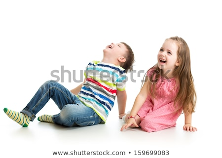 Two Cute Little child Boy Isolated on the White Background. Stock photo © Lopolo