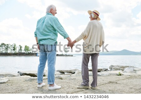 Hátsó nézet kortárs lezser idős tart kezek Stock fotó © pressmaster