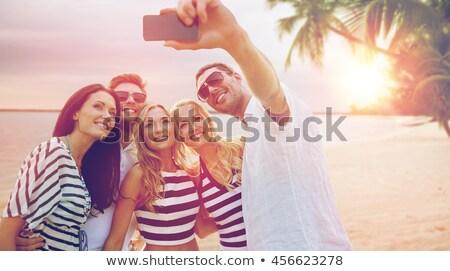 счастливым друзей тропический пляж путешествия туризма Сток-фото © dolgachov