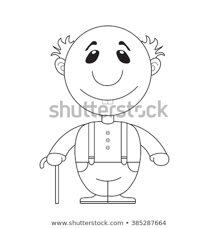 Coloring book grandpa with walking stick Stock photo © clairev
