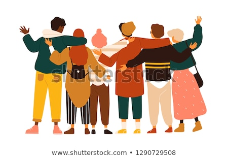Group Portrait View, Hugging Men and Women Vector Stock photo © robuart