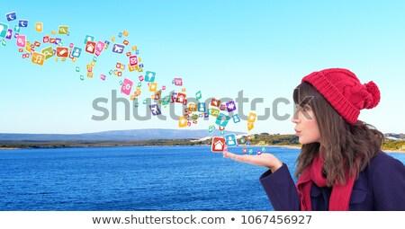 Mulher jovem seis aplicação ícones mãos Foto stock © wavebreak_media