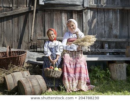 kız · eski · ahır · orman · yer · kadın - stok fotoğraf © lopolo