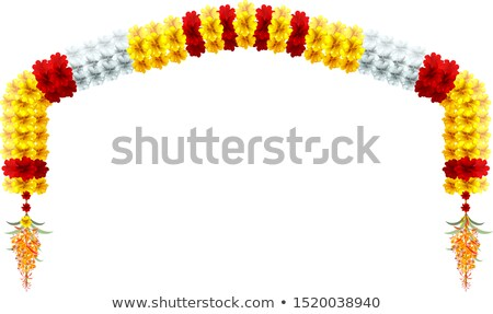 Traditional indian mala flower garland. Festive holiday arch flower decoration Stock photo © orensila