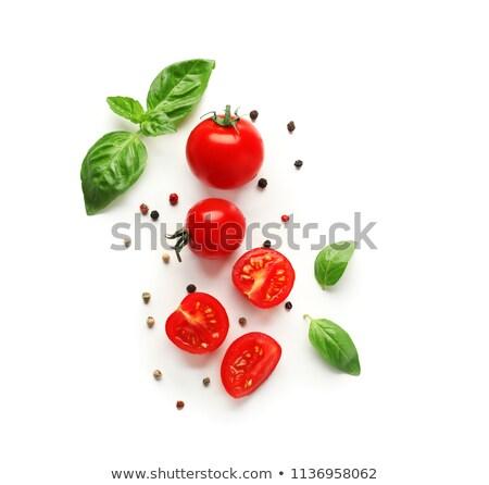 помидоры черри базилик изолированный белый красный желтый Сток-фото © Bozena_Fulawka