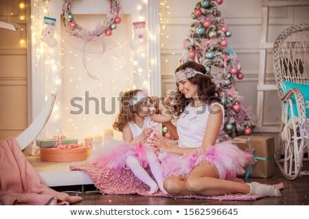 Czarujący matka córka różowy spódnica christmas Zdjęcia stock © ElenaBatkova