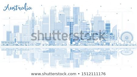 Linha do horizonte azul edifícios cópia espaço Foto stock © ShustrikS