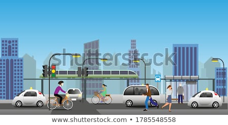 Developing Town Cityscape with Vehicles on Road Stock photo © robuart