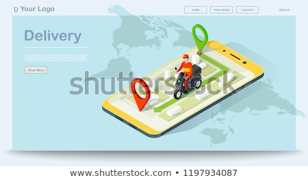 text food delivery pizza in a smartphone Stock photo © nito