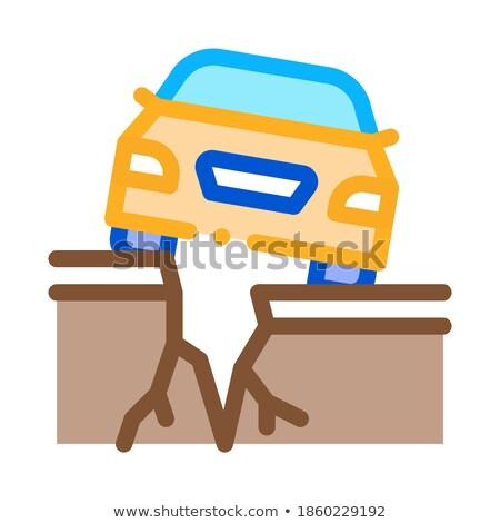 Terremoto carro ícone vetor ilustração Foto stock © pikepicture