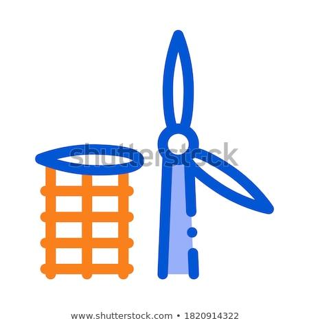 Szárny szélmalom messze ikon vektor skicc Stock fotó © pikepicture