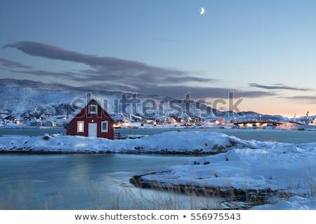 Noors Rood huizen Noorwegen winter traditioneel Stockfoto © dmitry_rukhlenko