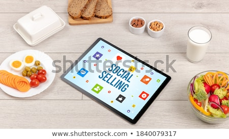 Healthy Tablet Pc compostion, social networking concept Stock photo © ra2studio