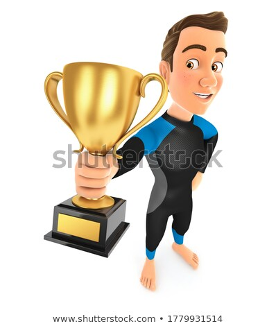 3d surfer standing and holding trophy cup Stock photo © 3dmask
