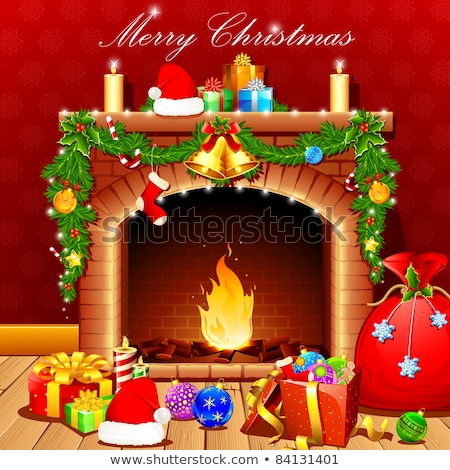karácsony · jelenet · fa · tűz · ajándékok · otthon - stock fotó © elmiko