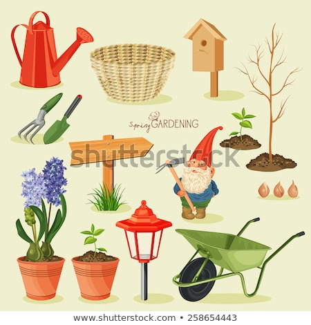 garden gnome and tools for spring planting stock photo © sandralise