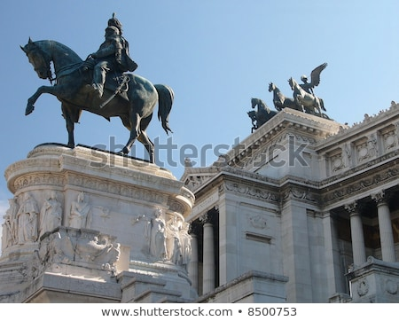 A view on the equestrian sculpture of Vittorio Emanuele ll, in Rome, Italy. Stock photo © Paha_L