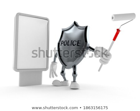 3D Police with a blank poster Stock photo © texelart
