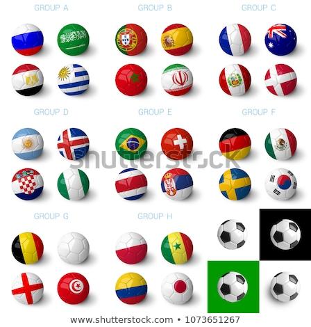Ucrânia · bandeira · conjunto · futebol · isolado · branco - foto stock © m_pavlov