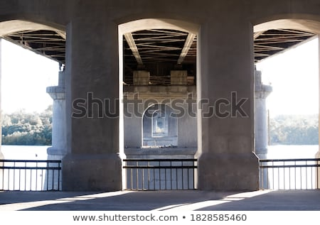Stock photo: Distance perspective of a bridge wall