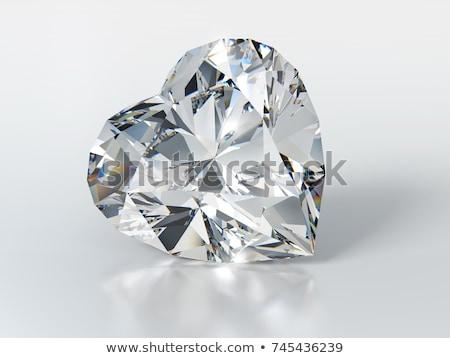 Diament kształt serca odizolowany biały 3d miłości Zdjęcia stock © AptTone