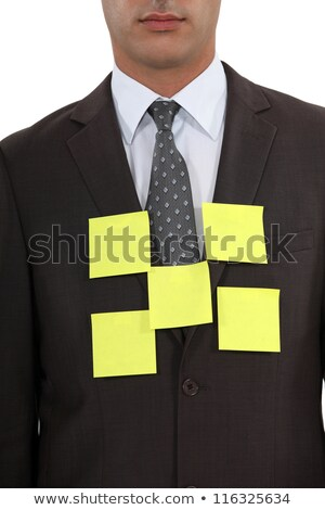 Businessman's blazer covered with sticky notes Stock photo © photography33