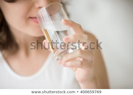 Vrouw glas water handen voedsel Stockfoto © photography33