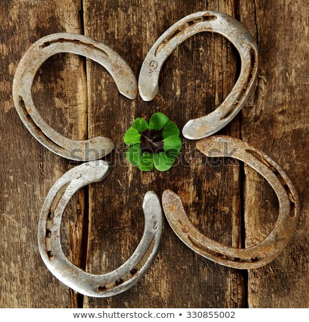 horseshoes and shamrocks in squares over green background Stock photo © marinini