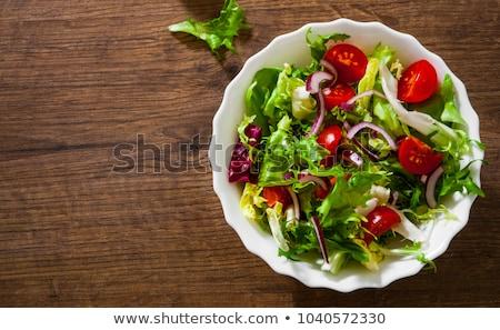 Friss kert saláta asztal közelkép szabadtér Stock fotó © ElinaManninen