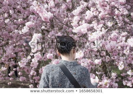 Stare.  Beautiful woman in pink blossoms on spring day Stock photo © Victoria_Andreas