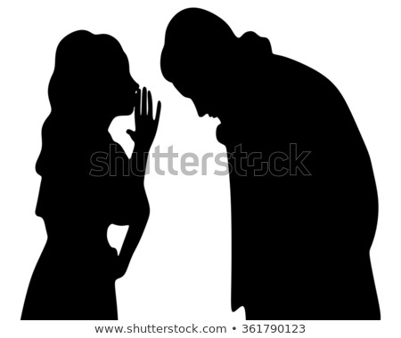 silhouette of girl whispering stock photo © lenm