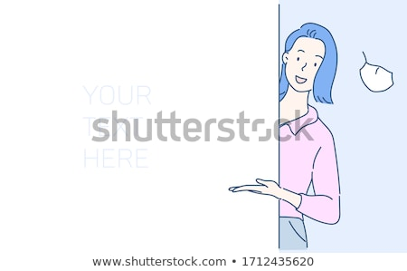 woman with blank white board stock photo © dolgachov