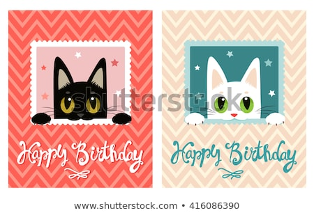 birthday card template with little girl and toys Stock photo © balasoiu