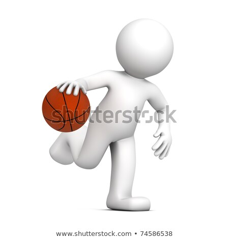 3d · ember · játszik · kosárlabda · izolált · fehér · férfi - stock fotó © kirill_m