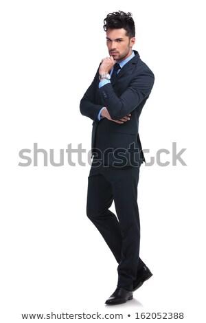 Egészalakos kép komoly töprengő üzletember fehér Stock fotó © feedough