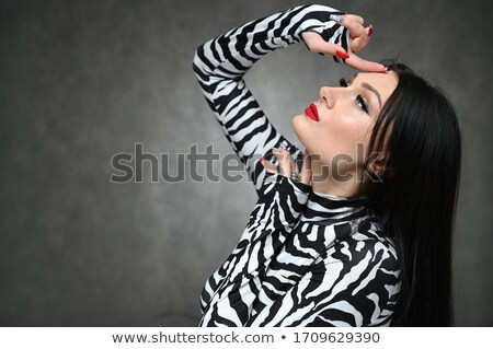 Great portrait of brunette lady with clear complexion Stock photo © konradbak