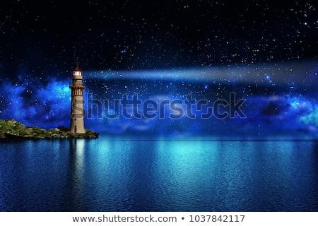 3D · viharos · tenger · 3d · render · világítótorony · éjszaka - stock fotó © elenarts