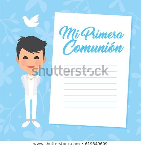 primo · comunione · verticale · invito · ragazzo - foto d'archivio © marimorena