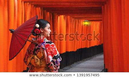 Geisha paraguas ilustración sonrisa fondo Cartoon Foto stock © adrenalina