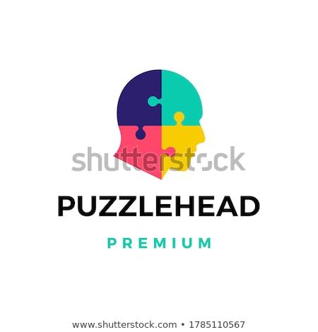 metálico · quebra-cabeça · peça · isolado · branco · 3D - foto stock © make