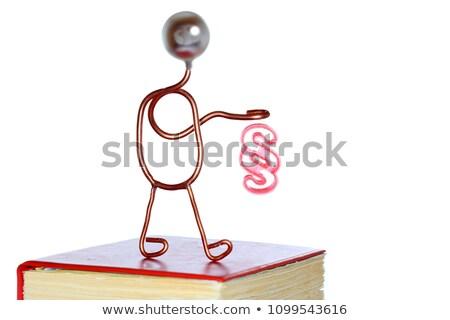 piros · törvény · könyv · kéz · fiatal · ügyvéd - stock fotó © Farina6000
