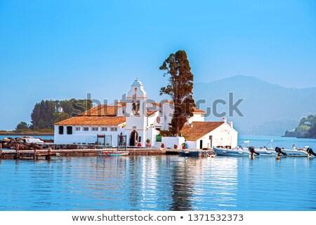 Klasztor widoku mały wyspa wygaśnięcia kościoła Zdjęcia stock © maxsol7