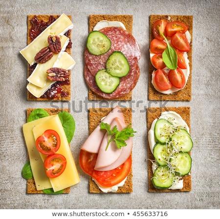 Crispy rye bread with cheese Stock photo © Klinker