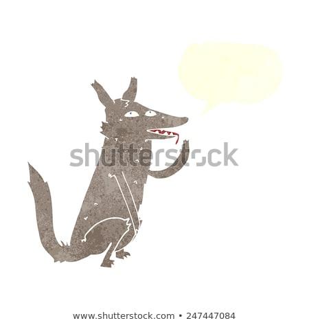 Rajz farkas mancs szövegbuborék kéz terv Stock fotó © lineartestpilot