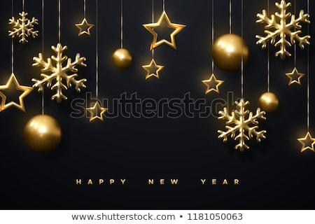 Рождественские 3d золотые звезды и снежинки Сток-фото © maximmmmum