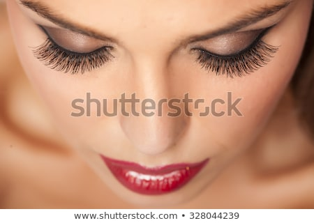 Közelkép szem hosszú piros szempilla extrém Stock fotó © courtyardpix