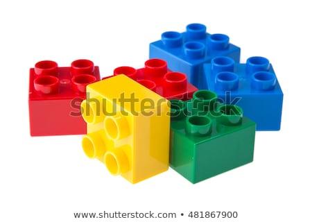Műanyag építőkockák fehér gyermek háttér oktatás Stock fotó © teerawit