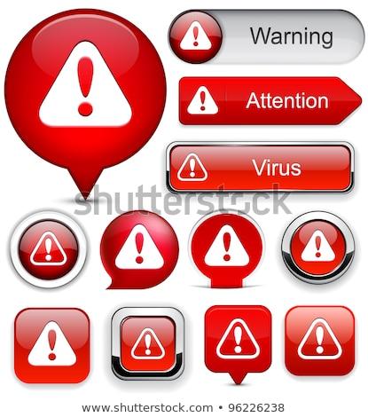 Figyelmeztető jel piros vektor gomb ikon terv Stock fotó © rizwanali3d