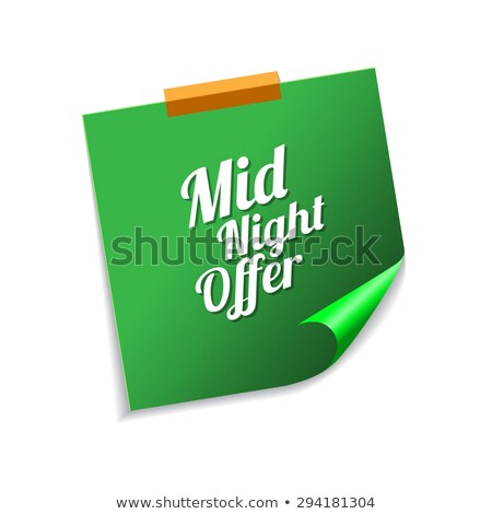 midnight offer green sticky notes vector icon design stock photo © rizwanali3d