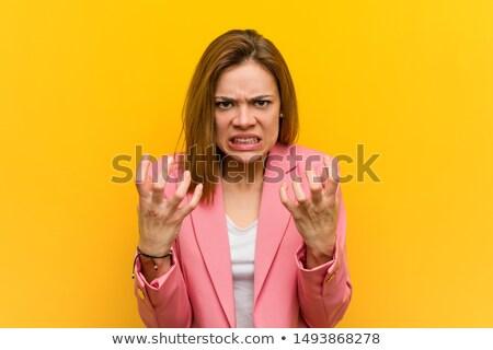 loco · gritando · mujer · de · negocios · excitado · mujer · de · negocios - foto stock © fuzzbones0